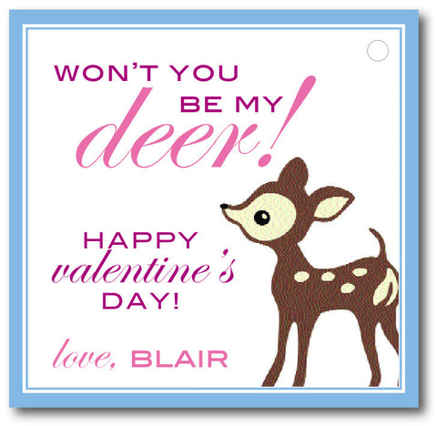 "Square- ""Won't you be my Deer?"" Valentine"