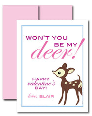 """Won't you be my Deer!"" Valentine with Envelope"
