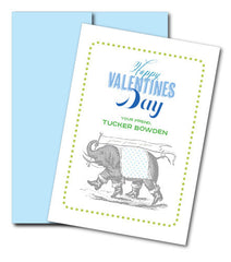 je t'aime Vintage Elephant Valentine with Envelope