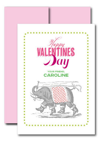 je t'aime Girl Vintage Elephant Valentine with Envelope