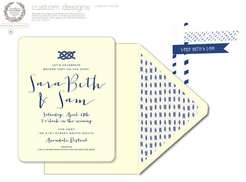 Tie the Knot Letterpressed Engagement Party Invitations