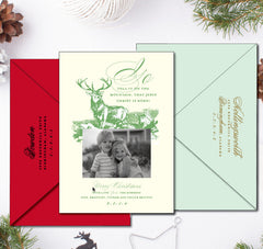 Letterpress Wildlife Whitetail Deer Christmas Card