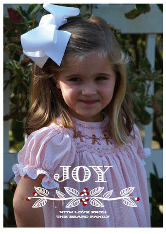 JOY with holly Christmas Card