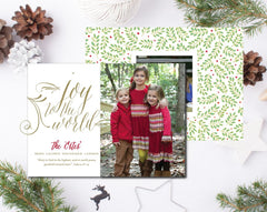 Joy to the World Script Christmas Card