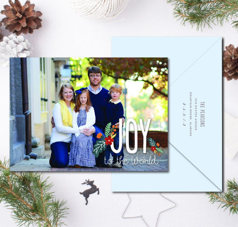 Joy to the World Christmas Card with flowers