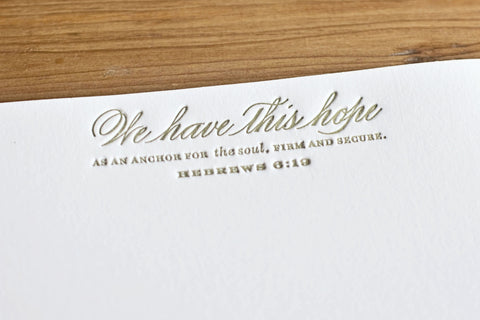 Set of 2 - Gold Letterpressed Sympathy or Encouragement Notecard