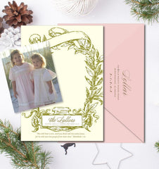 Laurel Frame Christmas Card - Flat Printed with + Stick Down Photo