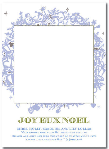 Light Blue Wreath Christmas Card