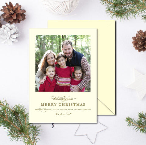 Letterpress Christmas Card - We wish you a Merry Christmas