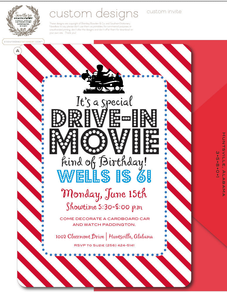 Movie Night Invitations | Southern Stationery