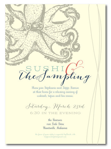 Sushi & The Sampling Octopus Invitation