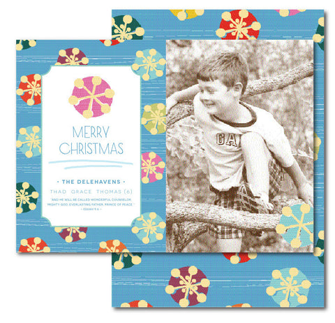 Peppermint Snowflakes Christmas Card