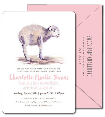 Sweet Baby Lamb Shower Invitation