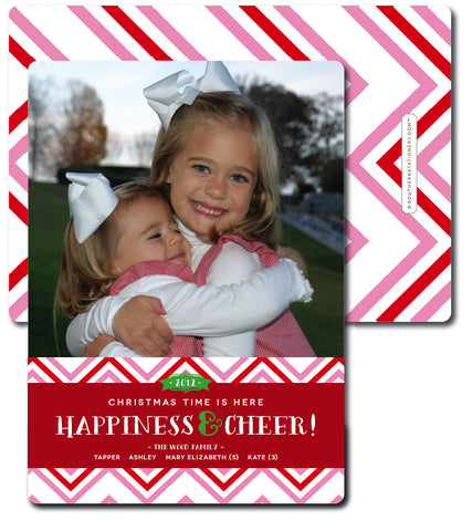 Pink Chevrons Christmas Card