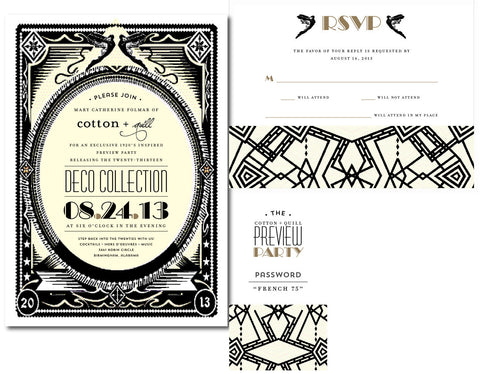 Cotton + Quill Preview Party Invitations Suite