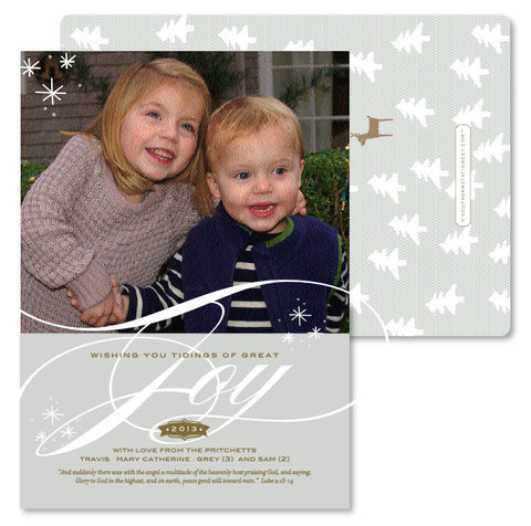 Classic Taupe Joy Christmas Card
