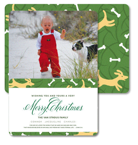Red Rover Puppy Dog Christmas Card