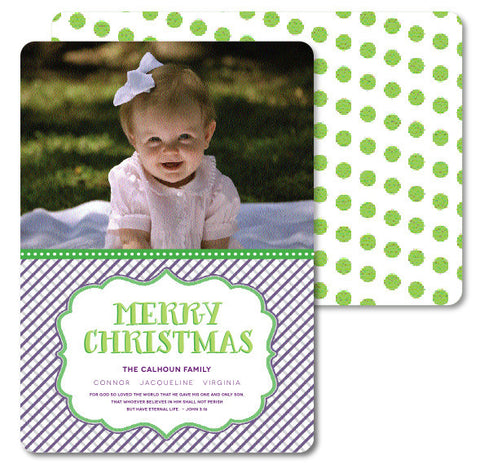 Purple Stipes and Green Dots Christmas Card