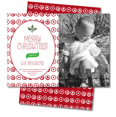 Reverse Red PolkaDot Christmas Card