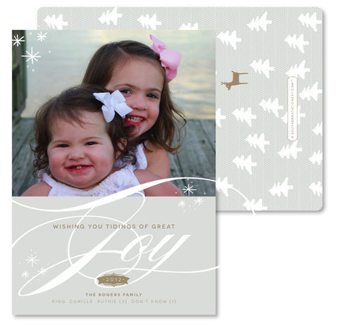 Taupe Joy with Reindeer Christmas Card