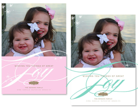 Pink or Mint Christmas Card