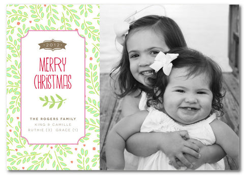 Holly Berry Background Christmas Card