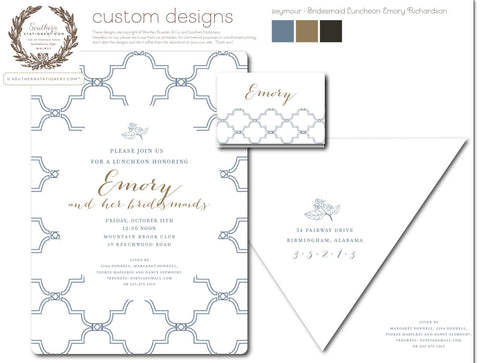 Seymour Invitation with matching placecards