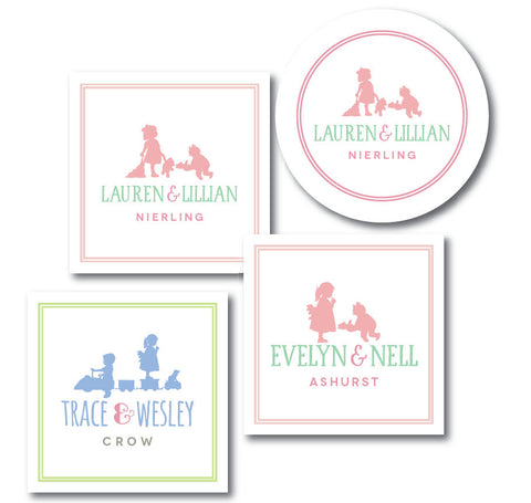Sibling Silhouette Enclosures and Gift Stickers