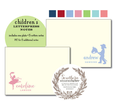 Children's Letterpress Notes - Silhouette Line (Qty 50)