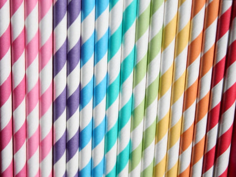 Striped Straws - WITHOUT FLAGS