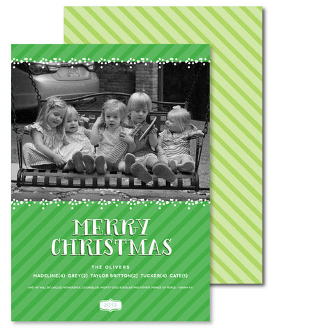 Wintergreen Stripes Christmas Card