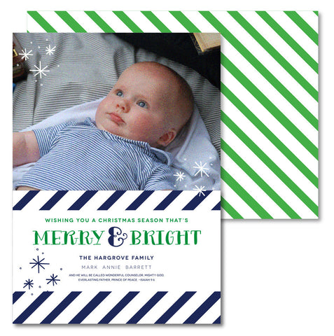 Navy & Green Sripe Christmas Card