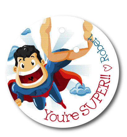 "Round Tag, Superhero ""Your SUPER!"""" Valentine"