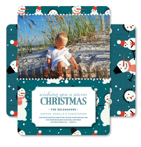 Teal Snowmen Christmas Card