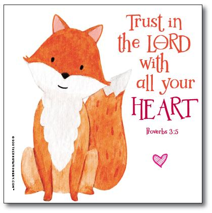 Bible Verse Square Scripture Valentine Classroom Sets - Fox