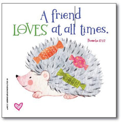 Bible Verse Square Scripture Valentine Classroom Sets - Hedgehog