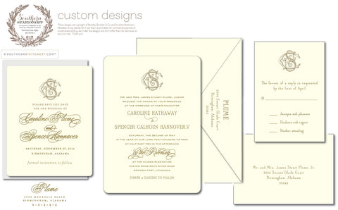 Custom Letterpress Wedding Suite - Southern Stationery