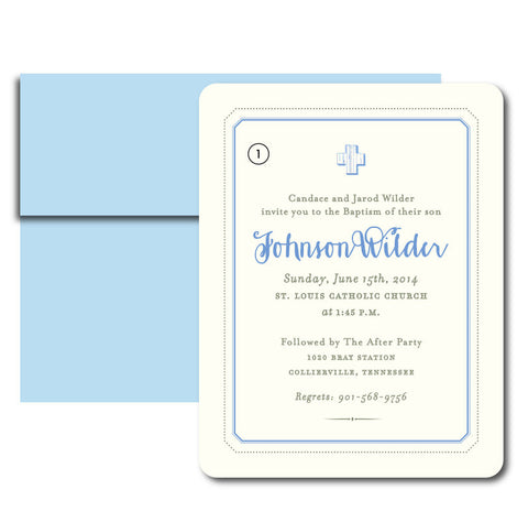 Wilder Baptism Invitation with Blue Envelopes