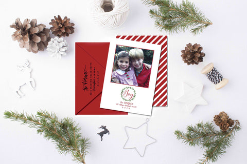 Watercolor Wreath Christmas Card + Return Addressing