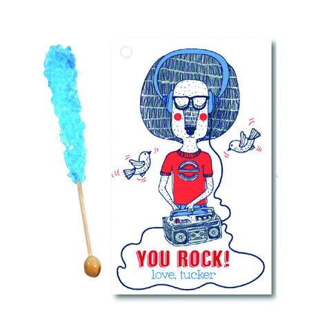 Boys- You're a Rock Star Valentine with Rock Candy Stick