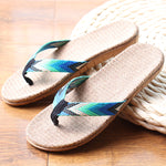 Linen Striped Ribbon Flip Flops