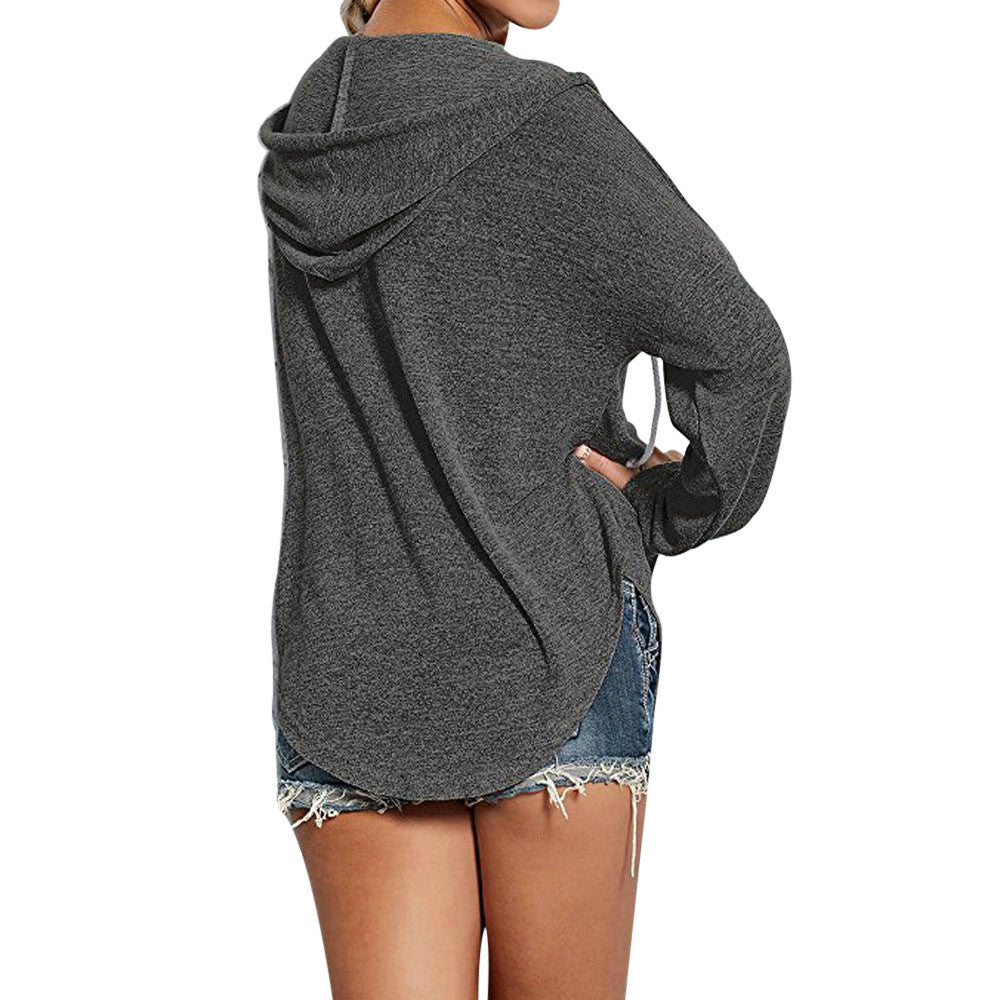 Beach Drawstring Oversized Long Sleeve Pullover Hoodie