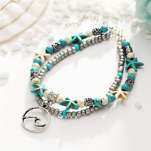 Starfish Wave Beads Ankle Bracelet
