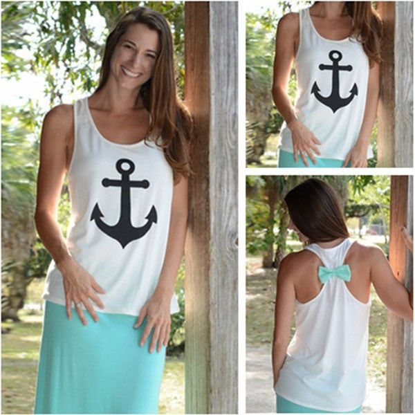 Anchor Tank Top with Back Bow