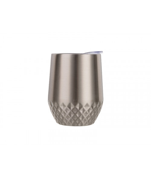 12OZ STAINLESS STEEL STEMLESS TUMBLER WITH DIAMOND PATTERN