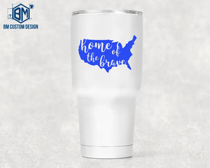 30oz Tumbler Home Of The Brave - BM Custom Design