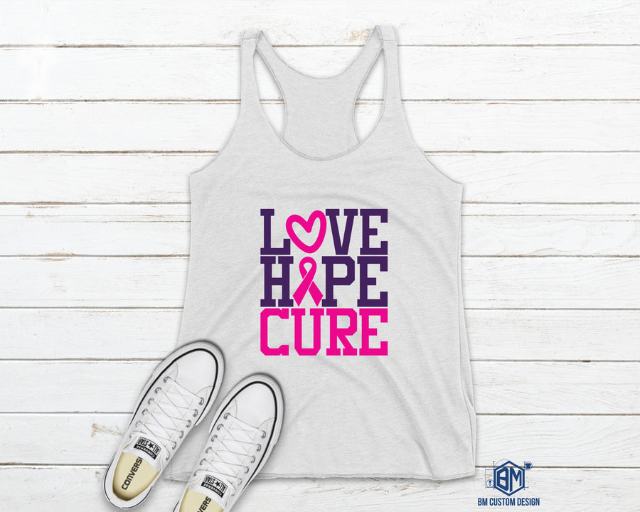 Love Hope and Cure Tank Top - BM Custom Design