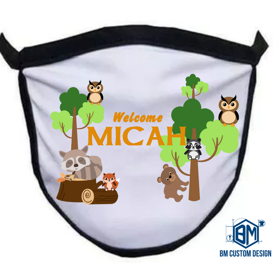 Baby Arrival Animal Woodland There Facemask