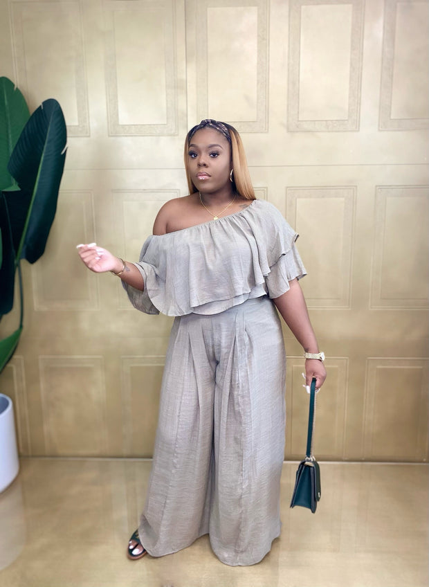 Off Shoulder Crop Top and Wide Leg Pant Set