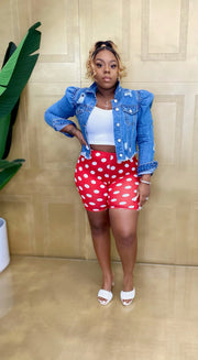 Polka Dot High Waist Biker Shorts